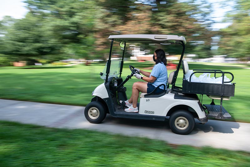 Dining delivery for students in quarantine via golf cart