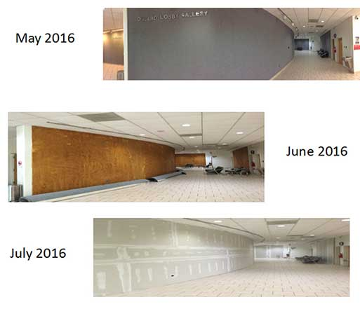 Daura lobby in stages of renovation