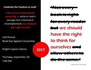 Read-Out Against Censorship @ Knight-Capron Library - Capron Wing