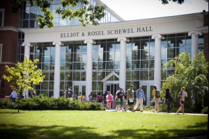 Students walking into Schewel Hall