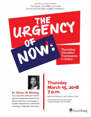 """Gilman Whiting will present """"the Urgency of now"""" on March 15 at 7 p.m. in Memorial Ballroom."""