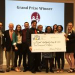 University of Lynchburg students receive a giant check