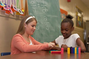 An LC student participates in the Math Buddies program