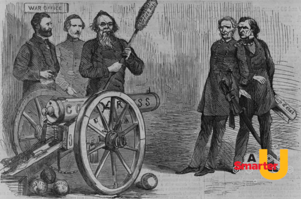 Image of a political cartoon about Andrew Johnson's impeachment, with a Smarter U logo on it.