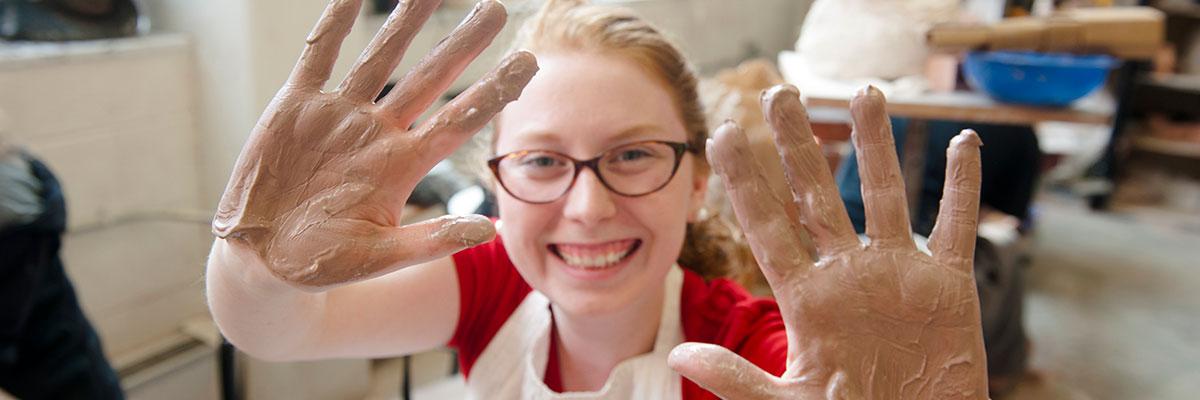 Student during a ceramics class