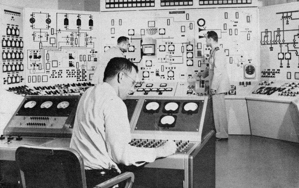A mock nuclear control room