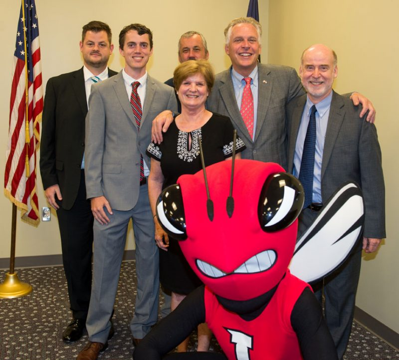 Picture of several Lynchburg College representatives with Governor Terry Mcauliffe.