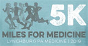 Miles for Medicine 5K promotional logo - runners against a blue background