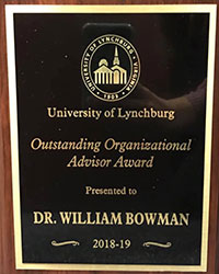 Award plaque presented to Dr. Joe Bowman