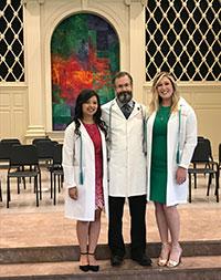 Eric Schmidt, PhD, Ms. Amy Popko, and Ms. Nina Ong in Snidow Chapel