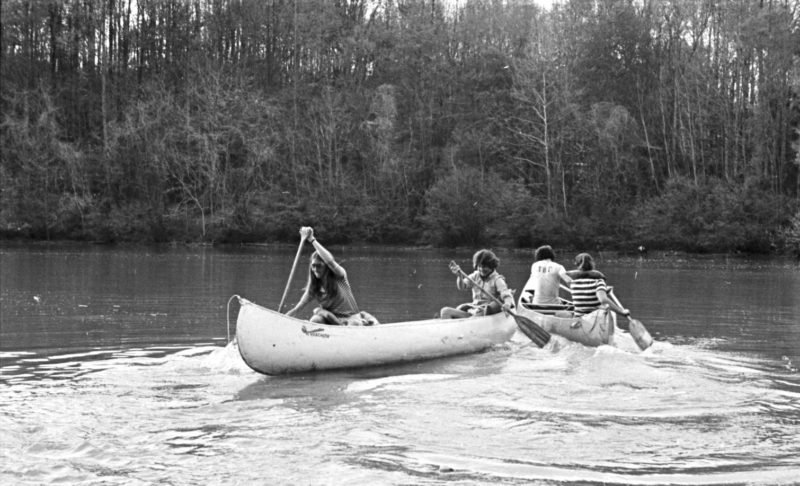 People canoeing in College Lake