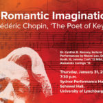 "Poster for A Romantic Imagination: Frederic Chopin, The Poet of Keys."" Lecture recital begins at 7:30 p.m. Thursday, January 31, Sydnor Performance Hall"