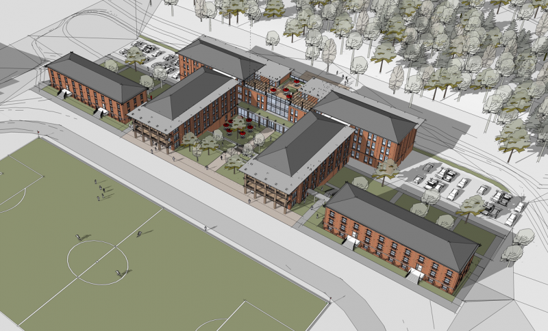 Concept drawing of the new residence hall
