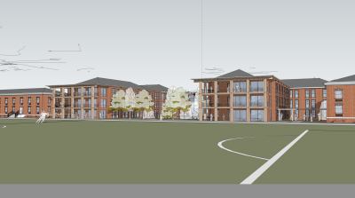 Concept drawing of new residence hall.