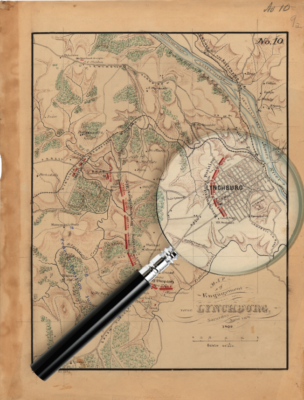 a photo illustration showing a magnifying glass laid on a historic map of the battle of Lynchburg
