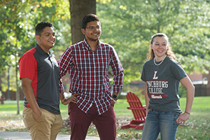 Group of three students in the Dell