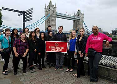 Study abroad students in London, England