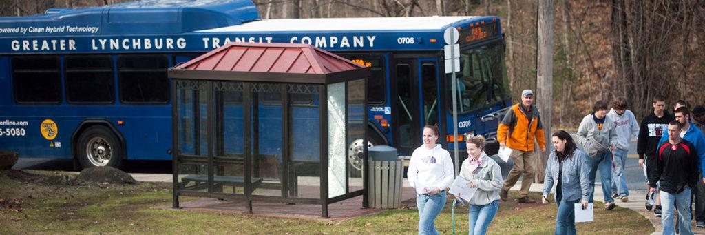Lynchburg students getting off the GLTC bus