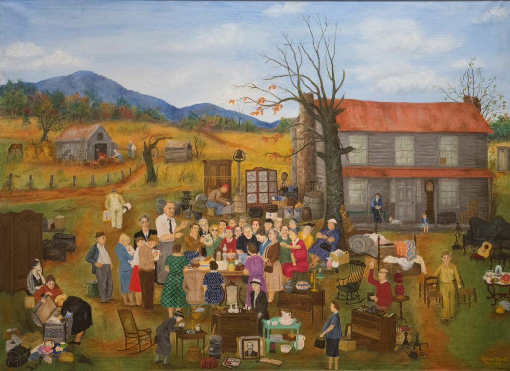 End of the Line, a painting by Queena Stovall, depicts a busy auction scene.