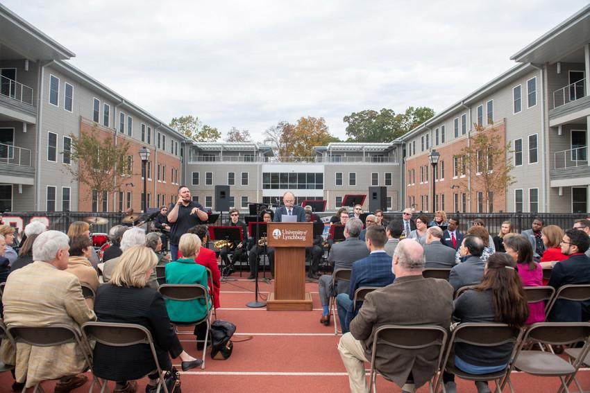 President Garren speaks at new residence hall dedication