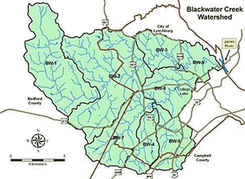 Map of Blackwater Creek watershed