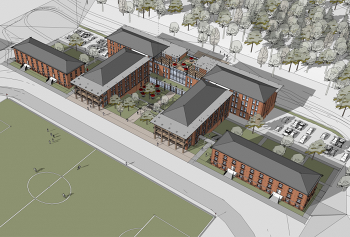 Drawing of new Westover Honors residence hall